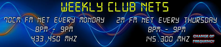 Weekly Club Nets - Monday 8pm - 9pm 433.450MHz - Thursday 8pm - 9pm  145.325MHz